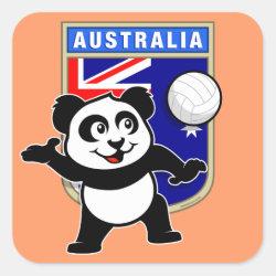 Square Sticker with Australia Volleyball Panda design