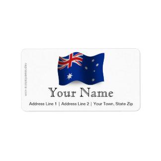 Australia Waving Flag Label