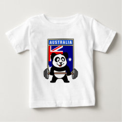 Baby Fine Jersey T-Shirt with Australia Weightlifting Panda design