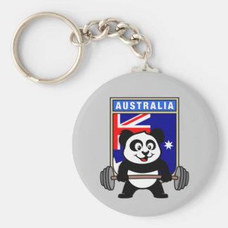 Australia Weightlifting Panda Basic Round Button Keychain