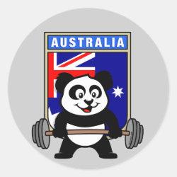 Round Sticker with Australia Weightlifting Panda design