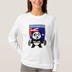 Women's Basic Long Sleeve T-Shirt with Australia Weightlifting Panda design
