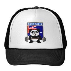 Trucker Hat with Australia Weightlifting Panda design