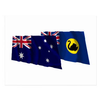 Australia & Western Australia Waving Flags Postcard