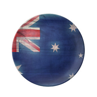 Australia Woodgrain Flag Dessert Plate