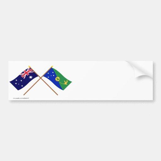 Australia y banderas cruzadas Isla de Navidad Etiqueta De Parachoque