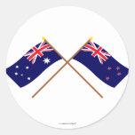 Australia y banderas cruzadas Nueva Zelanda Pegatinas Redondas