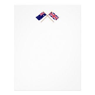 Australia y banderas cruzadas Reino Unido Membrete Personalizado