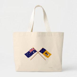Australia y banderas cruzadas territorio capital bolsas