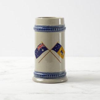 Australia y banderas cruzadas territorio capital jarra de cerveza
