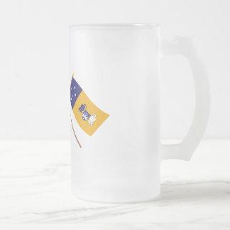 Australia y banderas cruzadas territorio capital taza de cristal
