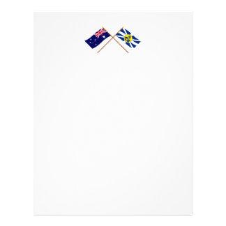 Australia y señor Howe Island Crossed Flags Membrete Personalizado