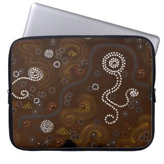 Australian Aboriginal Art Desert Snake, Waterholes Computer Sleeve