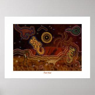 Australian Aboriginal Desert Heart Poster