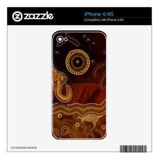 Australian Aboriginal Rustic Design Device Skin Decals For The iPhone 4