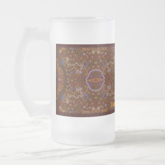 Australian Aboriginal-style Walkabout Art Design Frosted Glass Beer Mug