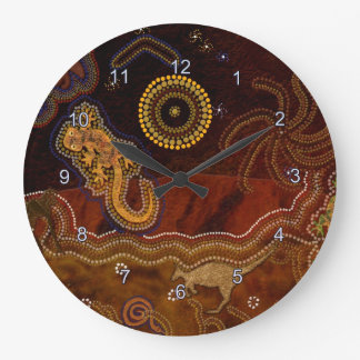 Australian Aborigine Dreamtime & Animals Large Clock