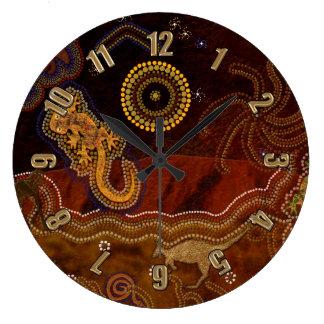 Australian Aborigine Style Desert Heat & Animals Large Clock