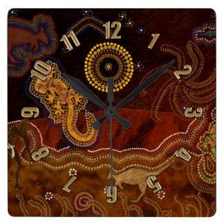 Australian Aborigine Style Desert Heat & Animals Square Wall Clock