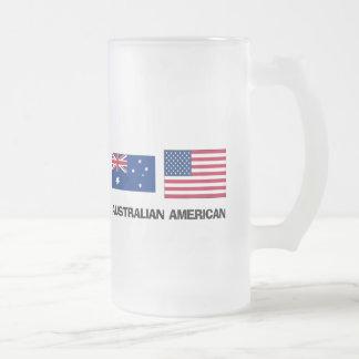 Australian American Frosted Glass Beer Mug