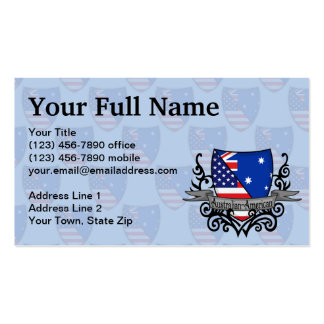 Australian-American Shield Flag Business Card Template