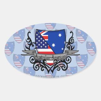 Australian-American Shield Flag Oval Sticker