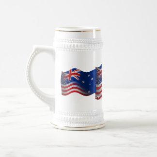 Australian-American Waving Flag Beer Stein