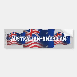 Australian-American Waving Flag Car Bumper Sticker