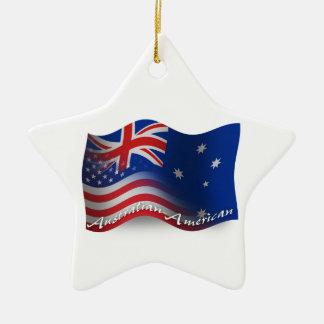 Australian-American Waving Flag Ceramic Ornament