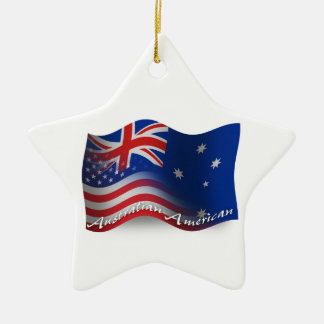 Australian-American Waving Flag Double-Sided Star Ceramic Christmas Ornament
