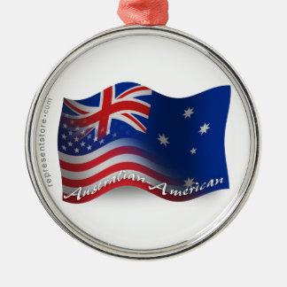 Australian-American Waving Flag Metal Ornament