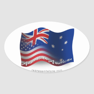 Australian-American Waving Flag Oval Sticker