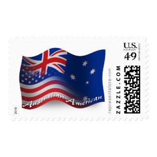 Australian-American Waving Flag Postage Stamp
