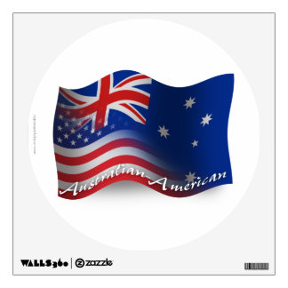 Australian-American Waving Flag Wall Sticker