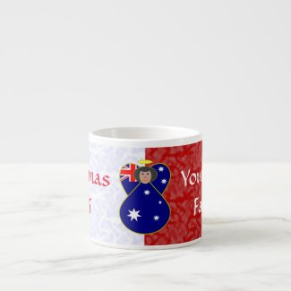 Australian Angel Flag Black Hair Red White Espresso Cup
