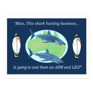 AUSTRALIAN ANTI - SHARK HUNTING POSTCARD