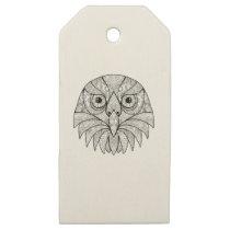 Australian Barking Owl Mandala Wooden Gift Tags
