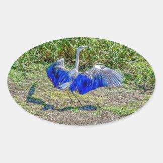 AUSTRALIAN BIRD STORK AUSTRALIA WITH ART EFFECTS OVAL STICKER