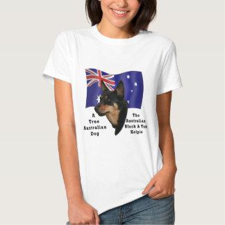 Australian Black and Tan Kelpie with Flag Tee Shirts