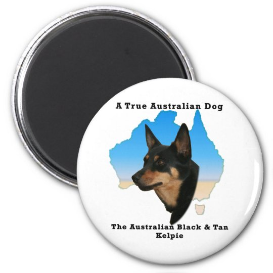 Australian Black and Tan Kelpie with map Magnet