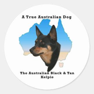 Australian Black and Tan Kelpie with map Stickers