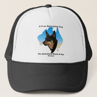 Australian Black and Tan Kelpie with map Trucker Hat