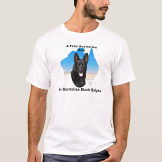 Australian Black Kelpie with map T-Shirt