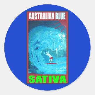 AUSTRALIAN BLUE SATIVA ROUND STICKERS