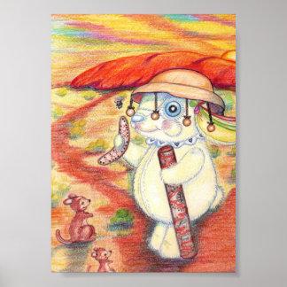 Australian Bunny Ayers Rock Pencil Drawing Poster