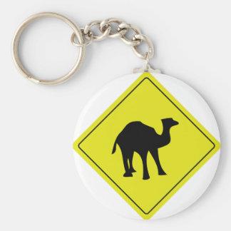 australian camel roadsign yellow keychain
