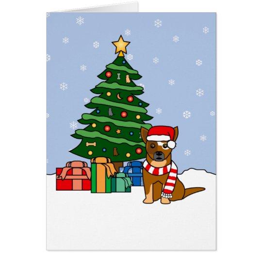 Australian Cattle Dog and Christmas Tree Card