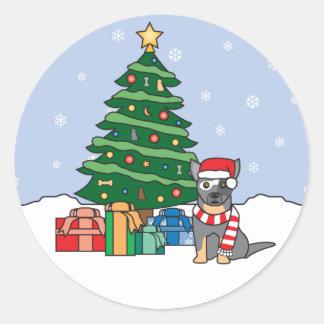 Australian Cattle Dog and Christmas Tree Round Sticker