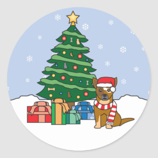 Australian Cattle Dog and Christmas Tree Round Stickers
