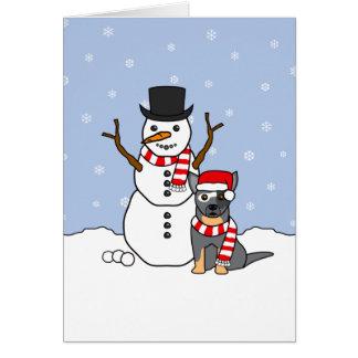 Australian Cattle Dog and Snowman Card